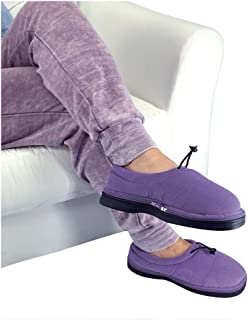 Thermo Shoes Microwavable Heating Pad by Nature Creation- Microwave Heated Foot Warmers for Men and Women - Perfect Heat Therapy Slippers for Cold Feet, Foot Pain, Sore or Tired Feet (Purple Large)