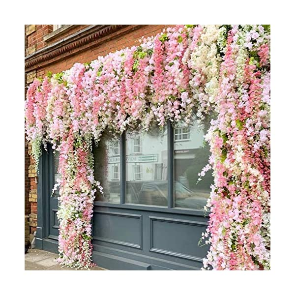 Shop2Beat Realistic Artificial Silk Wisteria Vine Ratta Silk Hanging Flower Plant for Home Party, Wedding Decor and Other Events 6 pcs- (Lavender)