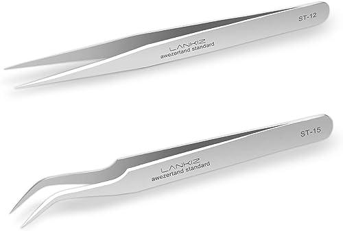 LANKIZ Eyelash Extension Tweezers Stainless Steel Straight and Curved Lash Tweezers 2 Pieces False Lash Application T...
