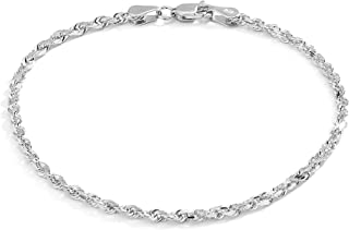 Pori Jewelers 10K Solid Gold 2.5mm Diamond Cut Rope Chain Anklet for Women - Lobster Clasp - 10