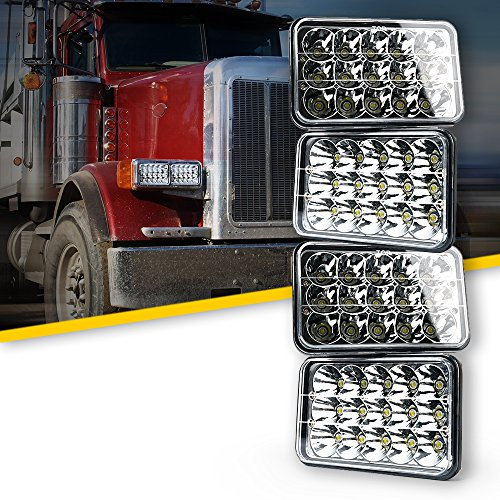 Xprite 45 Watt 4x6' LED Headlight Sealed Beam Replacement for Truck, Bus, HID Xenon H4651 H4652 H4656 H4666 H6545 Peterbilt Freightliner Kenworth (Pack of 4)