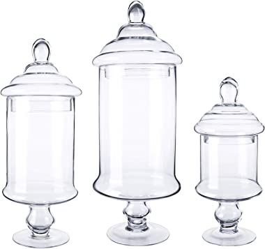 Diamond Star Apothecary Glass Candy Jar with Lids, Candy Buffet Display Elegant Storage Jars, Decorative Wedding Candy Canist