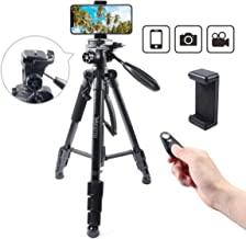 Mifotto Camera Tripod Travel Monopod 55 Inch, Portable Lightweight Aluminum Tripods Stand 13lb Load for Canon Nikon Sony Gopro Vlog DSLR Video with Phone Mount & Bluetooth Remote for iPhone & Android