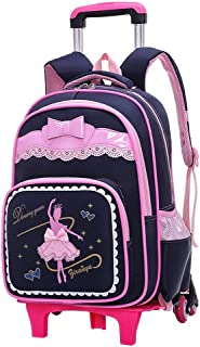 XHHWZB Schoolchildren's Trolley Bag Girl Detachable Climbing Building Junior High School Student Bag Female Children's Trolley Bag Primary School