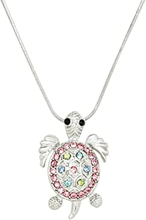 Sea Turtle Charm Pendant Fashionable Necklace - Sparkling Crystal - 17