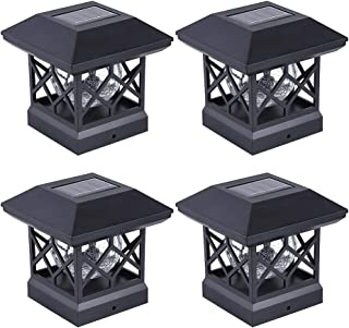 Solar Post Cap Lights Outdoor - Waterproof LED Fence Post Solar Lights for 4x4 Wood Posts in Patio, Deck or Garden Decoration(4 PCS)