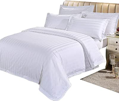 TONGSH 3ピースホテル布団カバーセット100%天然コットンキングサイズ1布団カバー2枕カバー真っ白な高級品質スーパーソフト通気性軽量丈夫な寝具 (サイズ さいず : 2.0M)