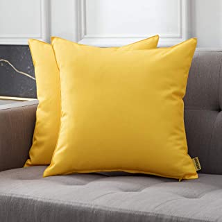 MIULEE Pack of 2 Decorative Outdoor Waterproof Pillow Covers Square Garden Cushion Sham Throw Pillowcase Shell for Patio T...