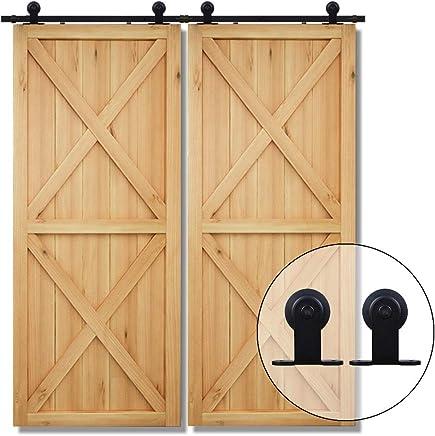 6.6FT//201cm Schiebet/ürbeschlag Set Schiebet/ürsystem Holzt/ür Gleitschienen-Kleiderb/ügel f/ür Doppelt/üren-Sliding Barn Wood Door Hardware Kit For Double Door