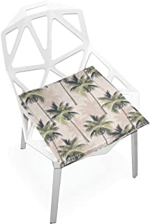 TSWEETHOME Comfort Memory Foam Square Chair Cushion Seat Cushion with Palm Tree Chair Pads for Hardwood Floors Dining Chairs Office Chairs