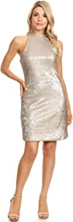 Womens Sleeveless Sequin Shift Halter Sexy Mini Cocktail Party Dress