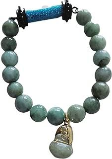 Heavens Tvcz Natural Green Jade Real Bracelets with Pendant Rare Holy Sarira Phra Tath Blue Sakyamuni Buddha Relics Powerful Thai Amulet and Pendant Jade Gourd Prosperity Luck Success Pro