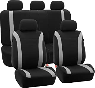 FH Group FH-FB054115 Gray Cosmopolitan Flat Cloth Seat Covers, Airbag Compatible and Split Bench, Gray/Black Color-Fit Most Car, Truck, SUV, or Van