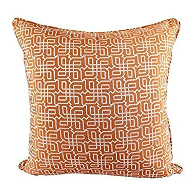 Homey Cozy Jacquard Plaid Throw Pillow Cover,Orange Textile Silver Geometric Pattern Decorative Square Couch Cushion Pillow Sham Case 20 x 20 Inch, Cover Only