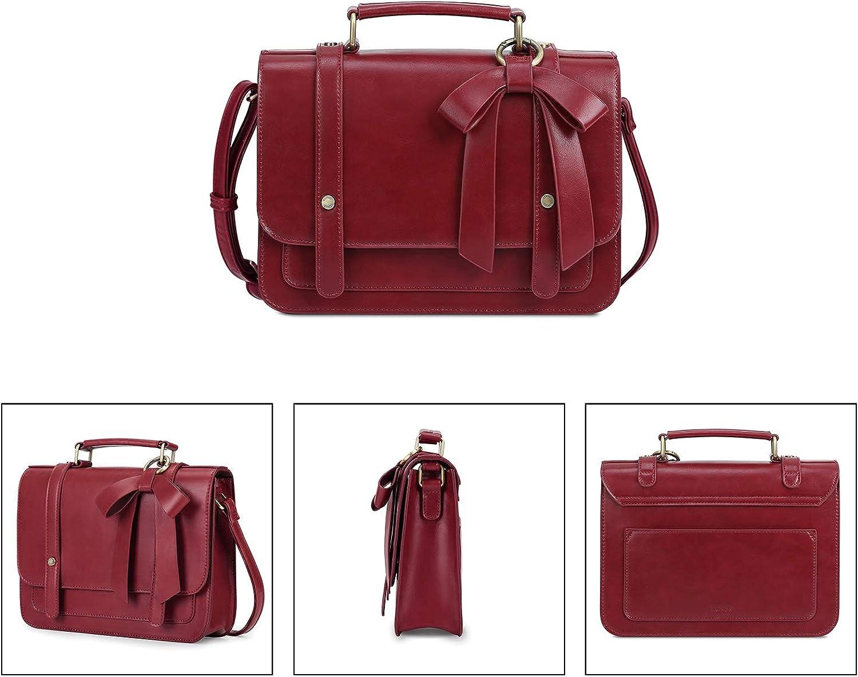 ECOSUSI Womens Small Vintage Vegan Leather Crossbody Satchel Bag with Detachable Bow