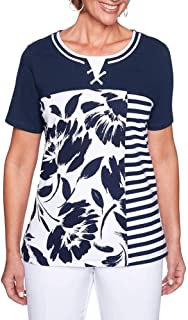America's Cup Floral Stripe Top, Navy/White