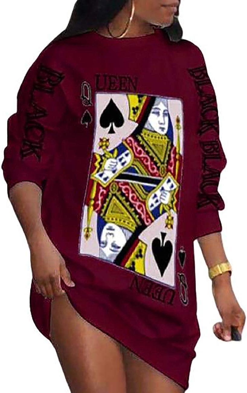 CHICME Women's Poker Letter Print Long Sleeve Casual Dress Loose T-Shirt Mini Dress