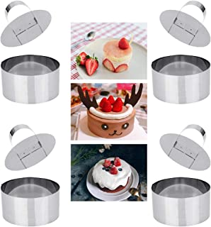 DECARETA 4 PCS Cake Molds Mousse Cake Rings Stainless Steel Food Rings for Baking Cooking Pancake Pastry with Pusher, Round, 3 Inch Diameter