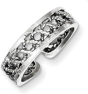 Lex & Lu Sterling Silver Antiqued & Polished Toe Ring