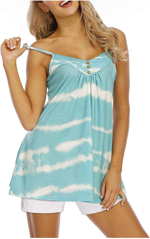 Women's Casual Plus Size Striped Tie Dye Tops Summer Fashion Sling Sleeveless Vest Blouse