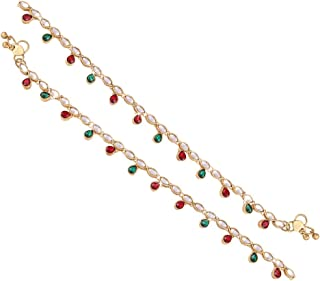 I Jewels Kundan Anklets/Payal for Girls & Women A017RG