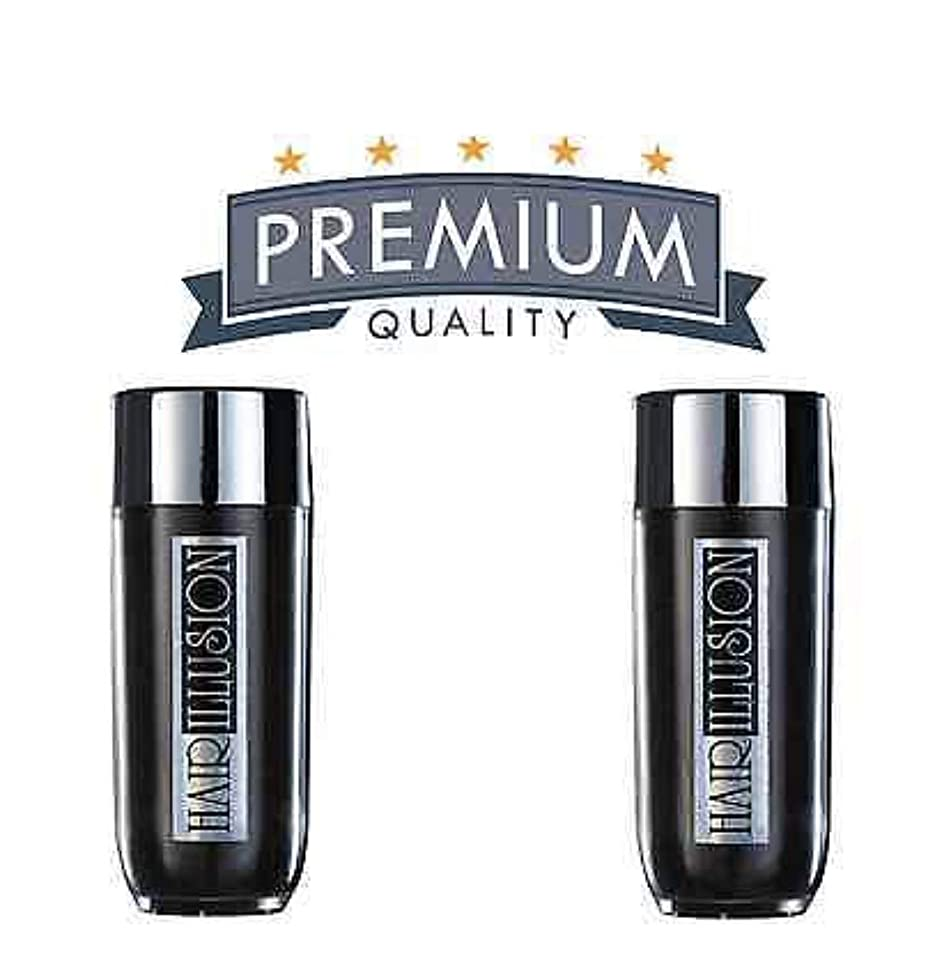 2x Hair Fibers & Hairline Optimizer Bald Spot Remover for Hair Loss by Hair Illusion 77G (Black)