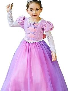 Little Girls Princess Rapunzel Costume Long Mesh Sleeves Dress Cosplay Halloween Birthday Party Dress Fancy Dress