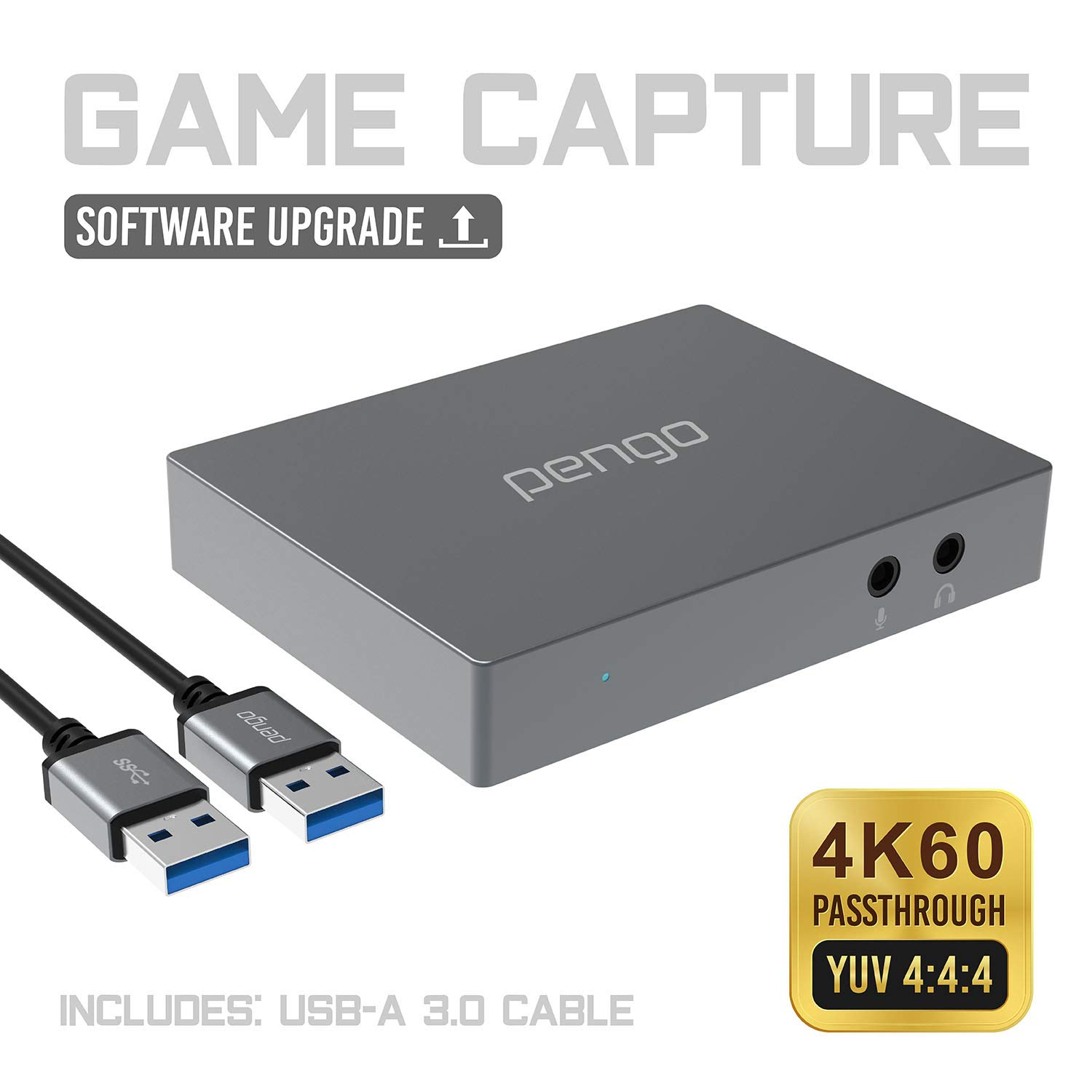 Pengo 4K HDMI Pass-Through Grabber, Game Capture Card at 1080p @60, No Driver, USB 3.0 UVC Works with Win, Mac OSX, min to no Latency, Livestream for Xbox One, PS4 (no HDCP), Switch (Aluminum)