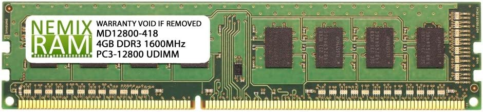 4GB DDR3-1600MHz PC3-12800 240-pin 1.5V 1Rx8 Non-ECC Unbuffered Desktop Memory RAM