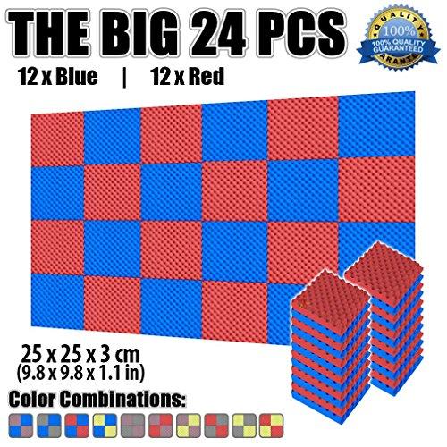 Super Dash Pacco da 24 di 25 X 25 X 3 cm Eggcrate Schiuma Fonoassorbenti Isolanti Studio Acustici Parete Piastrelle Pannelli SD1052 Rosso e blu