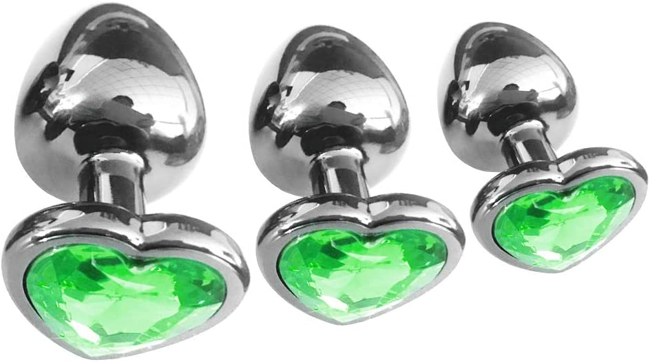 Raleigh Mall WENWING 3 Pcs Waterproof Metal Cryst Love Plug Now free shipping Heart-Shaped Amal