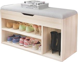 soges Meuble à Chaussures à l'entrée avec Coussin & Stockage Caché Cabinet de Rangement en Bois, Grey