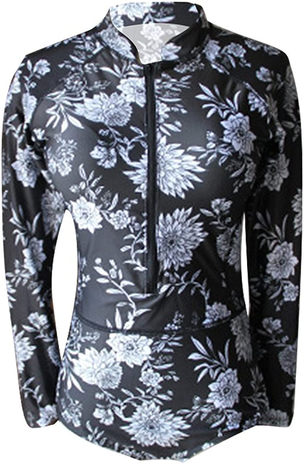 Long Sleeve One Piece Swimsuit with A Beautiful Floral Pattern Rash Guard Zip UV Predection Surfing Swimwear Bathing Suits