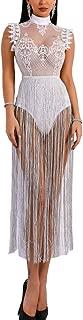 Women's Sexy Lace Sheer See Through Glitter Tassel Bodysuit Dress