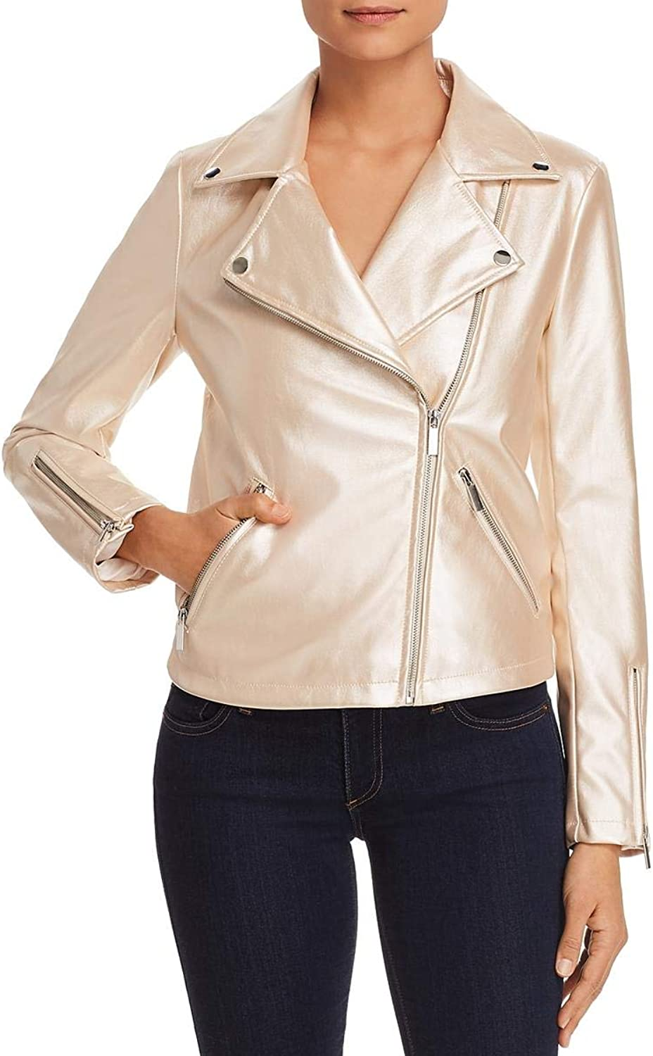 Bagatelle Womens Metallic Faux Leather Motorcycle Jacket