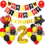 Cartoon Mouse 2nd Birthday Party Supplies, Oh Twodles Happy Birthday Banner Black Red Yellow Balloons for Mickey Mouse Theme Party Favors Decorations with Glue Points and Ribbon