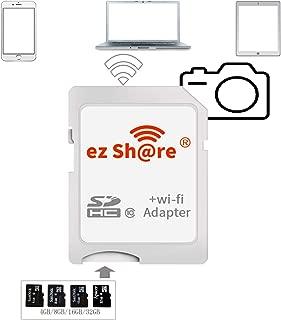 ez Share 8GB 16GB 32 GB Adapter WiFi SDHC Card Class10 SD Card Wireless Camera Memory Card for DC/DV/DSLR/DPF,etc. (Adapter) TF Card Conversion SD Card