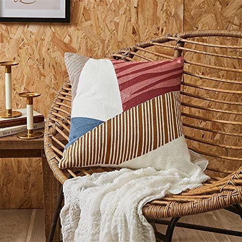 QMZ Fundas de Cojines Bordado Abstracto de Bloques de Color, Almohada Cuadrada de Alta precisión, Transpirable (sin núcleo Interno),Decoración de sofá Minimalista Moderna 45cm.