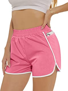 OFEEFAN 2.5'' Women's Athletic Wokout Running Shorts with Pocket Mesh Liner Quick Dry