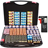 Hard Battery Organizer Sorter Storage case with Digital Battery Tester, Holding Over 250+ C, D, AA, AAA, AAAA, Button Cell, 3V SF/CR123A, 3.7V 18650, 6V 4LR44, 9V, 12V A23 Batteries.(no Batteries)