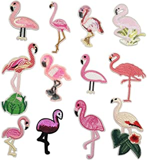 Niangzisewing Assorted Mix 12pcs Flamingo Iron on Patches sew on Patches Jeans Jackets Hats Bags Backpacks Motif Patch Lots (Flamingo, from 2