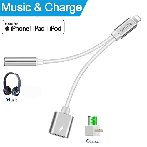 Ambrrhty Headphone Adapter,3.5mm Jack Audio Converter Earphone Adaptor for Phone X/Xs / Xs Max/XR Phone 8/8Plus 7/7 Plus Accessories Headset Cable Splitter Audio Wire Control Extender Adapter-Silver
