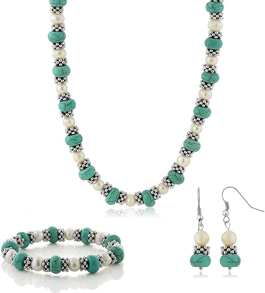Gem Stone King 18 Inch Simulated Turquoise Howlite and Cultured Freshwater Pearl and Spacers Necklace + Earrings