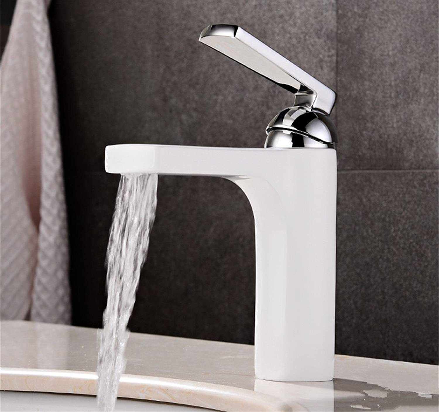 Lalaky Taps Faucet Kitchen Mixer Sink Waterfall Bathroom Mixer Basin Mixer Tap for Kitchen Bathroom and Washroom Copper Hot and Cold Waterfall White