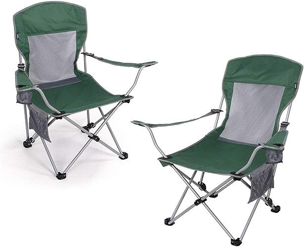 Chaise de Camping Ensemble de 2 chaises Pliantes d'extérieur Portables Vertes, Dossier réglable, Assis et couché Seat Siège de Voyage Festival avec Porte-gobelets Chaises Pliantes