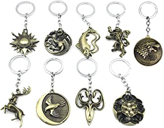 Keychain Game of Thrones 9PCS in 1 Including House of Stark Tully Lannister Tyrell Targaryen Arryn Greyjoy Baratheon Martell Bronze Colors