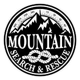 Mountain Search & Rescue Small Round Black on Reflective Decal Sticker for Firefighters Rescue Emergency Workers