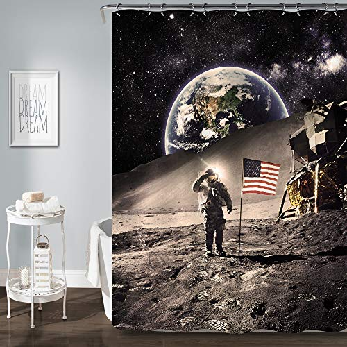 MitoVilla NASA Astronaut with American Flag on The Moon Shower Curtain, Vintage Cosmos Galaxy Outer Space Scenic Bathroom Decor for Men and Baby Kids Boy Gifts, Dark Grey, 72