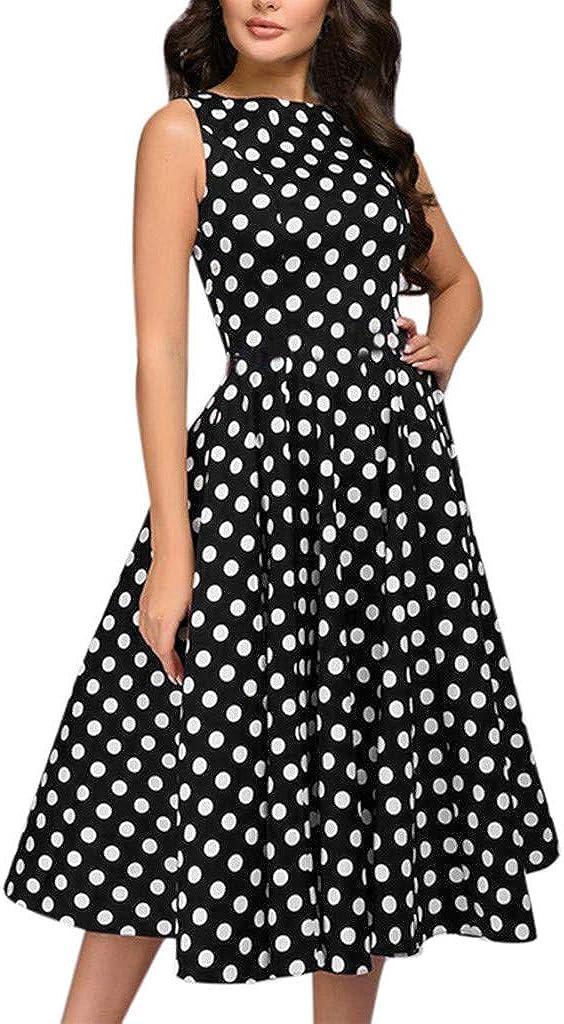 Fashion Women Elegant Dress Summer Dot Print Sleeveless Dress Vintage Zip Flare Retro Knee Length Dress Polka Dot Dress