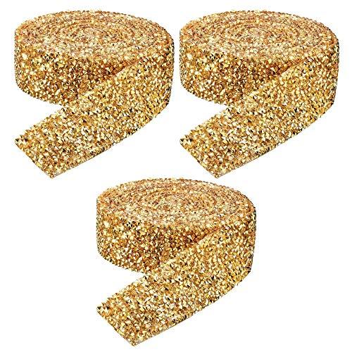 3 Rotoli Nastro di Strass di Cristallo, Nastro di Diamante Nastri Decorativi per Matrimoni, Torte, Compleanni